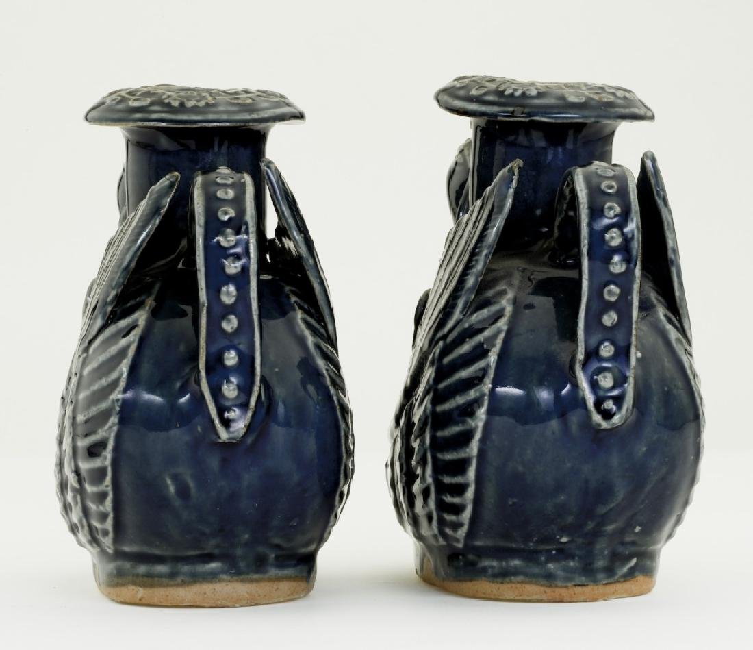 A pair Chinese bluish glazed candle- holders - 4