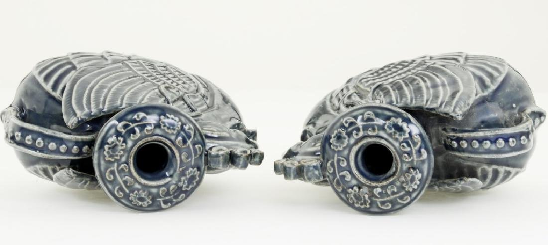 A pair Chinese bluish glazed candle- holders - 5