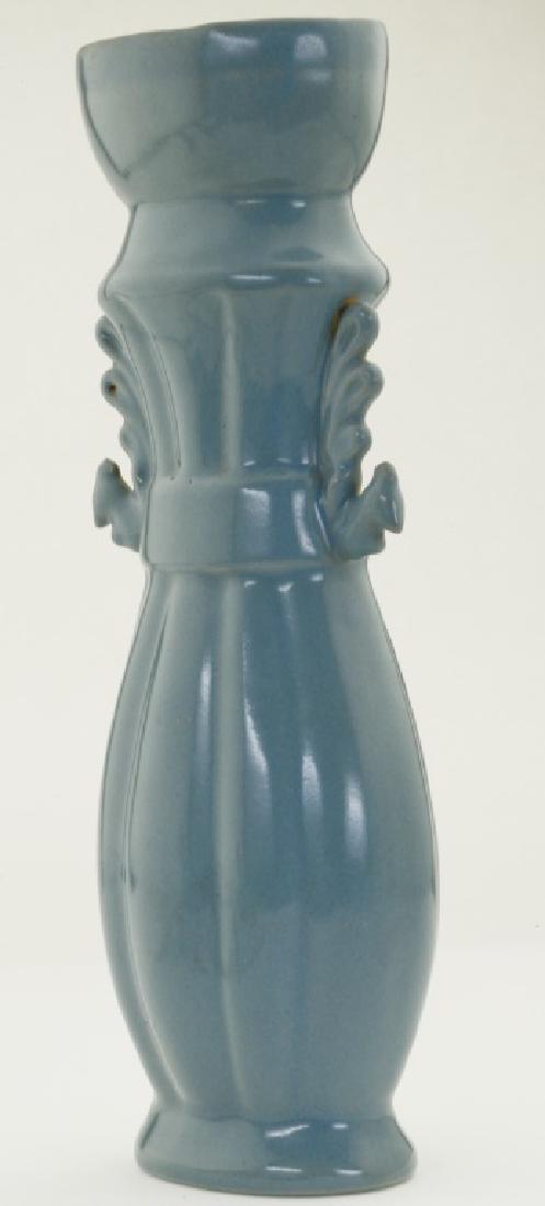 A superb Chinese 'Ru' kiln sky- bluish tall bottle vase - 2
