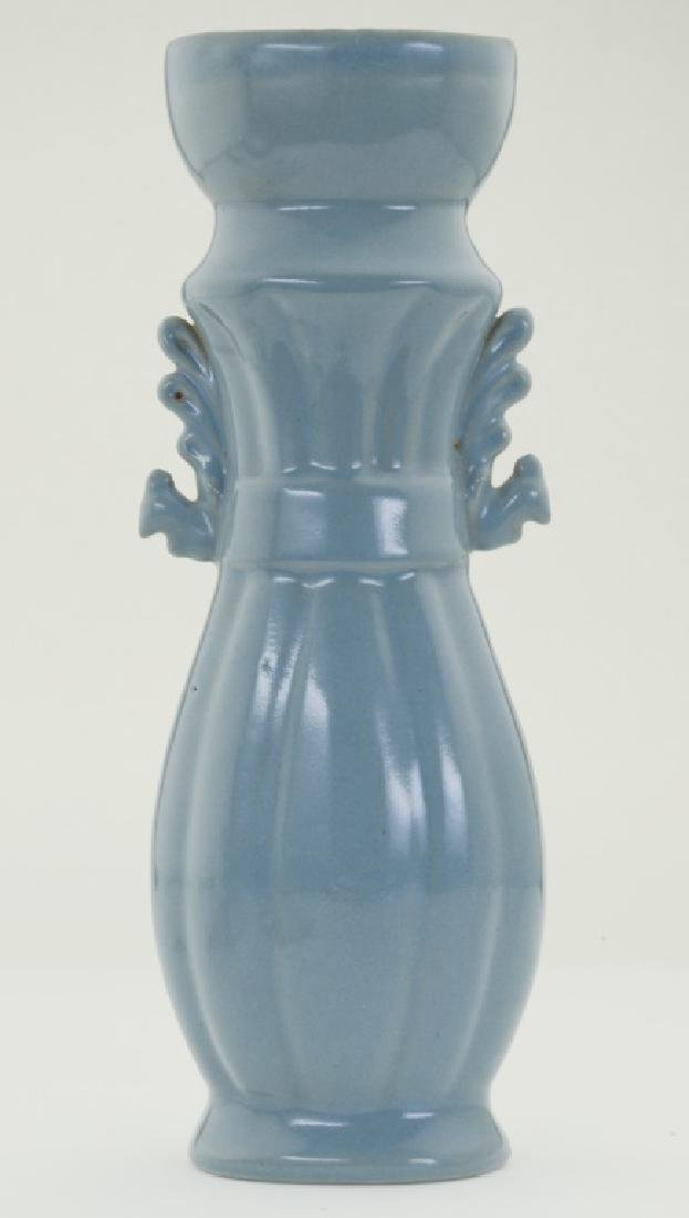 A superb Chinese 'Ru' kiln sky- bluish tall bottle vase - 4