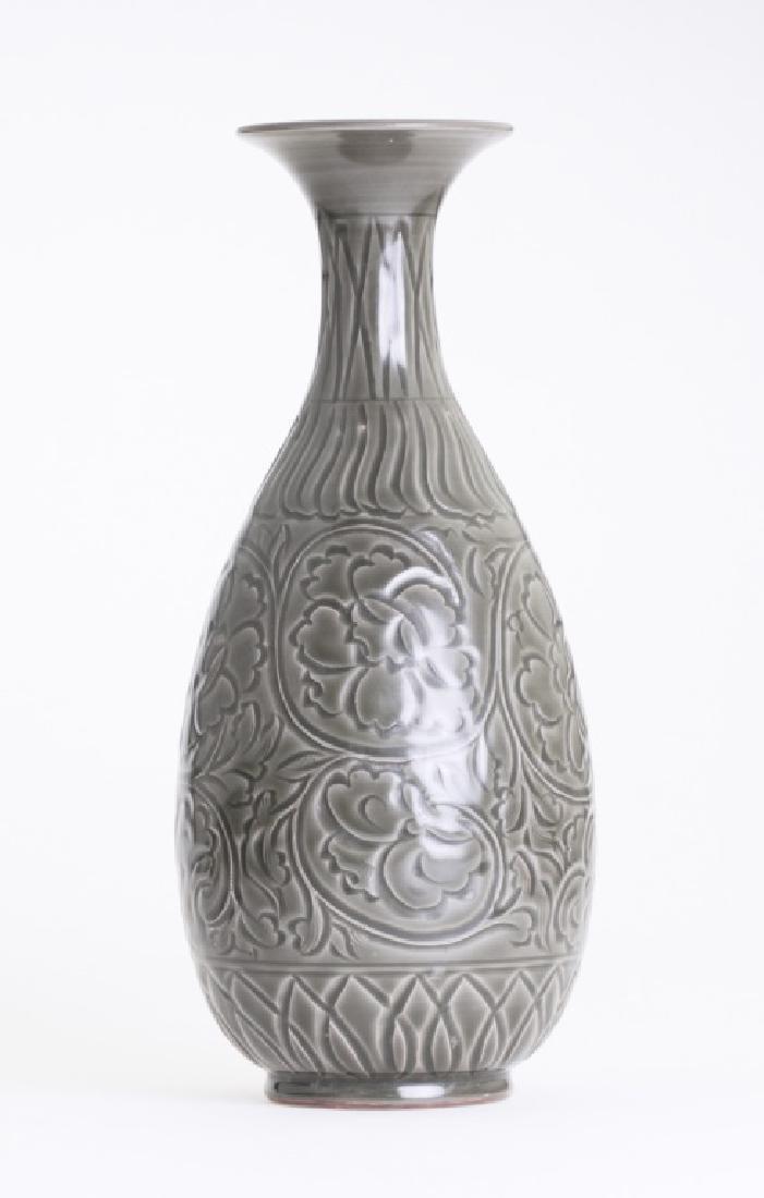 A large Chinese greenish Yao Zhou kiln vase - 2