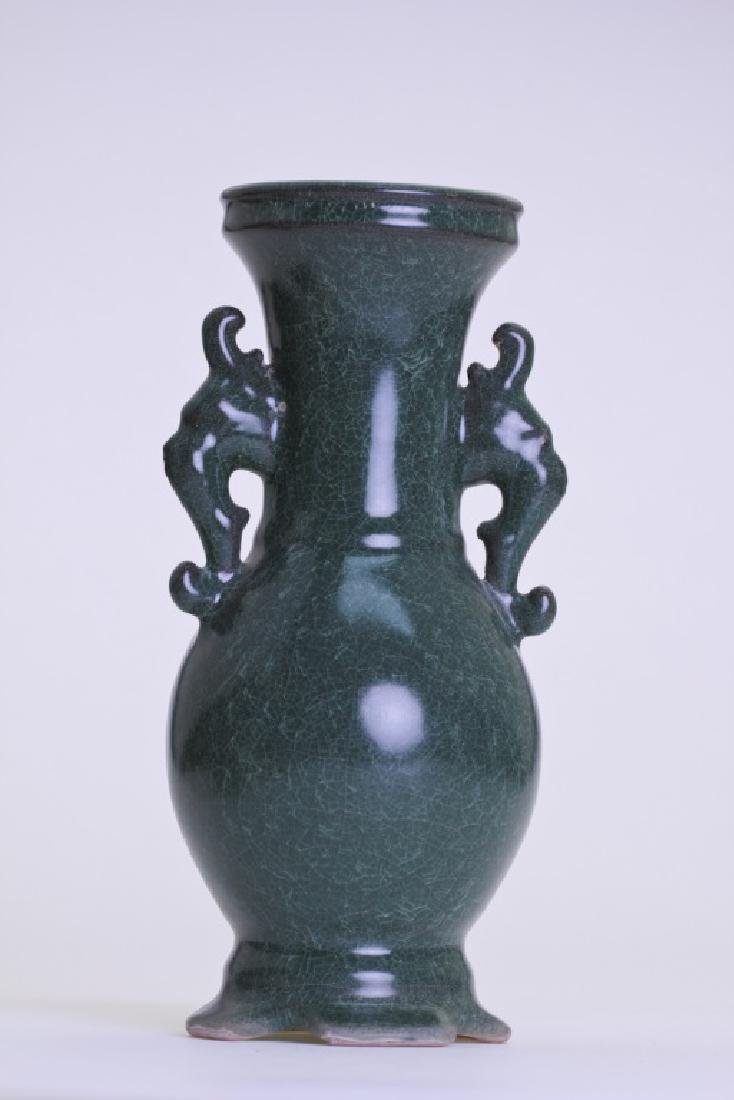 A nice Chinese greenish vase with double ears