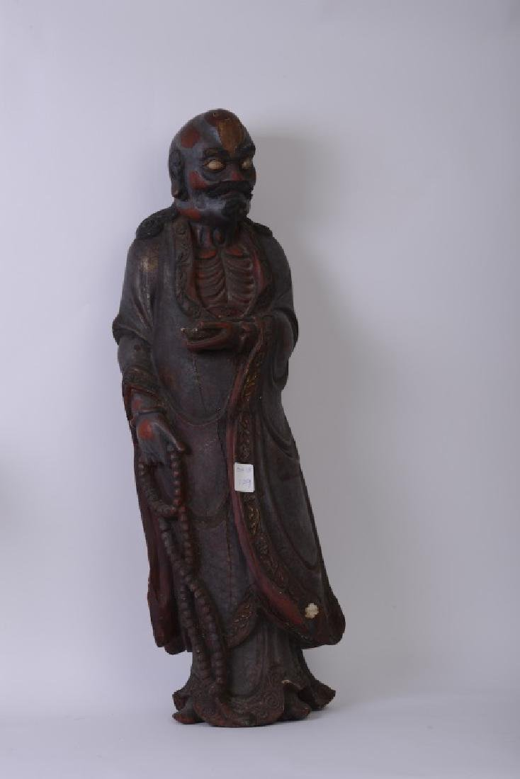A Chinese wood carved and Da Mo figure - 10