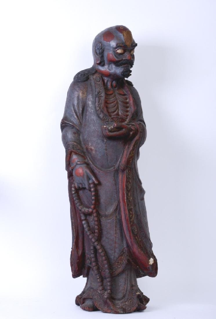 A Chinese wood carved and Da Mo figure - 2