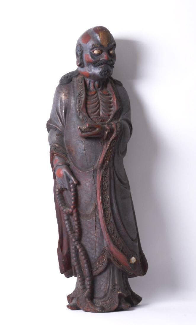 A Chinese wood carved and Da Mo figure - 3