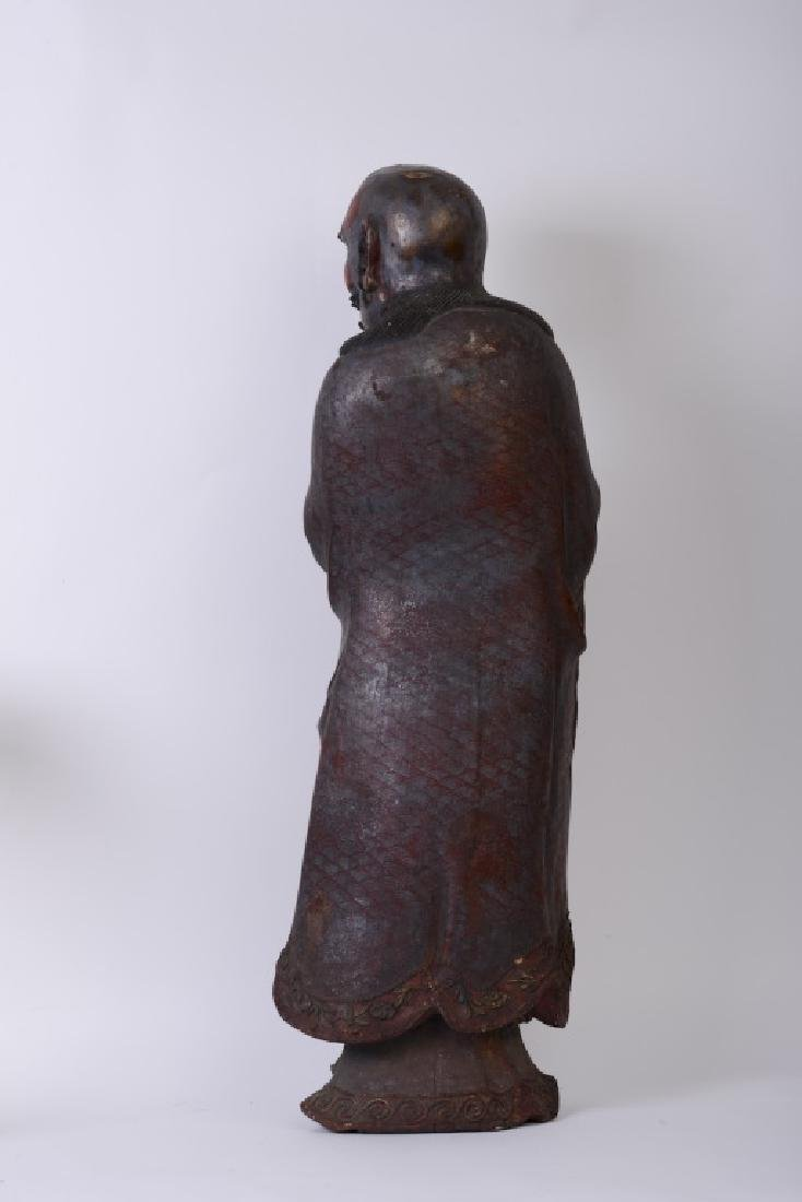 A Chinese wood carved and Da Mo figure - 5