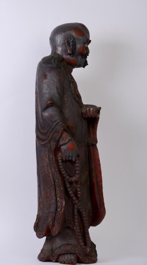 A Chinese wood carved and Da Mo figure - 6