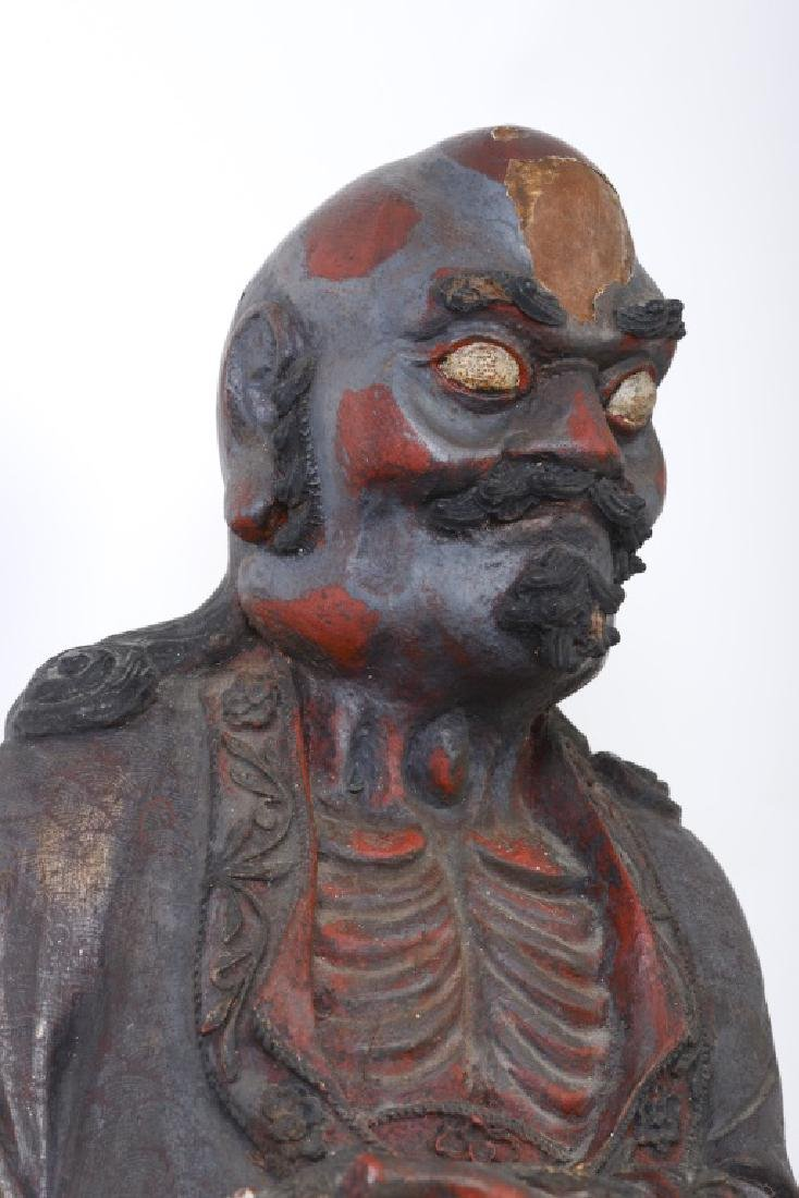 A Chinese wood carved and Da Mo figure - 9