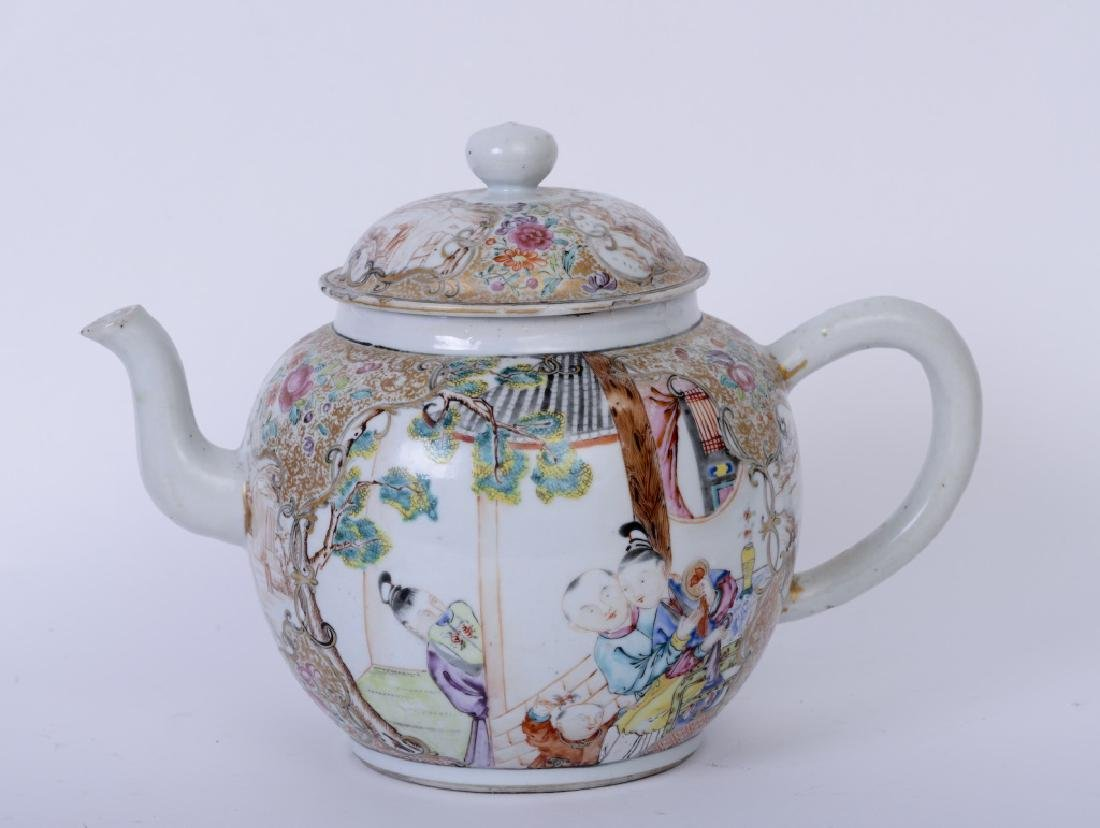 A Chinese export Qianlong famille rose teapot