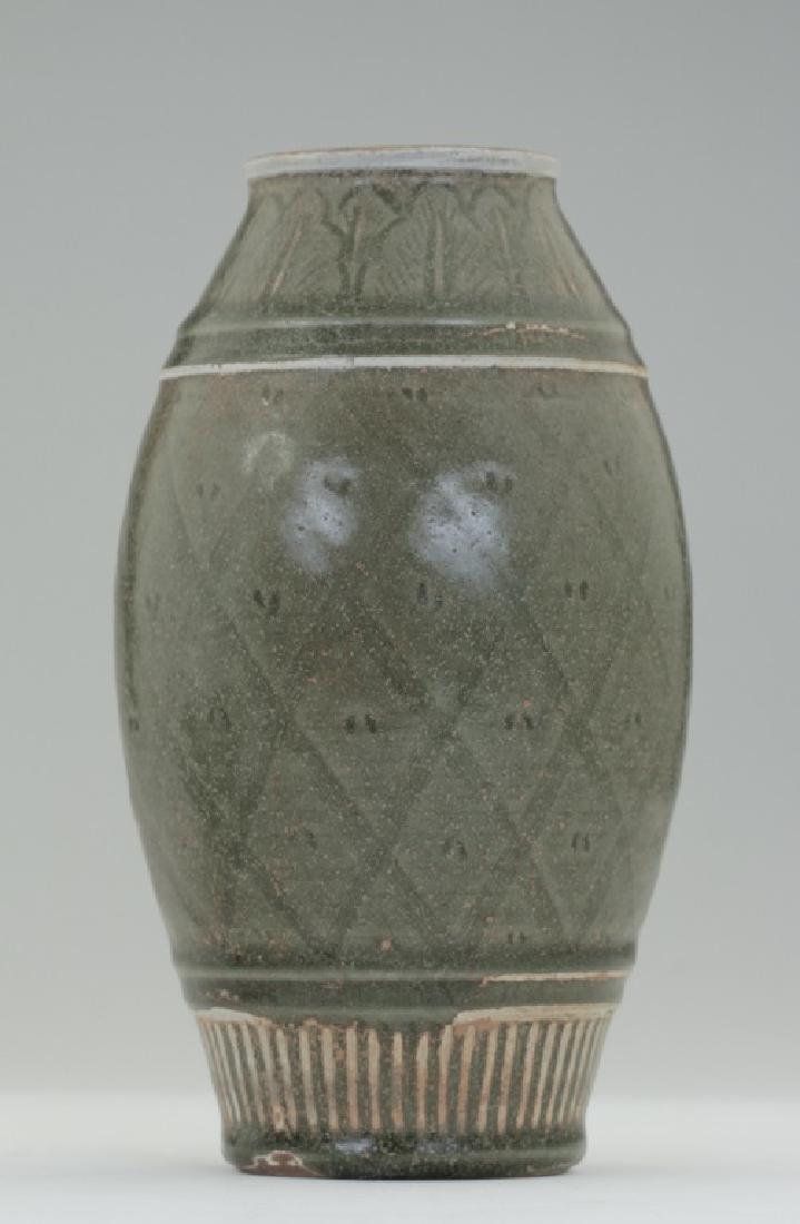 A Chinese Yao Zhou kiln greenish bottle vase