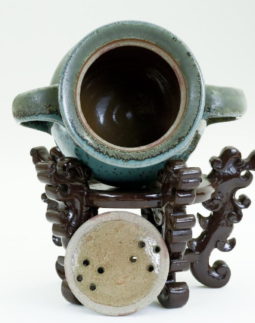 A Chinese Jun kiln three- foot incense burner - 6
