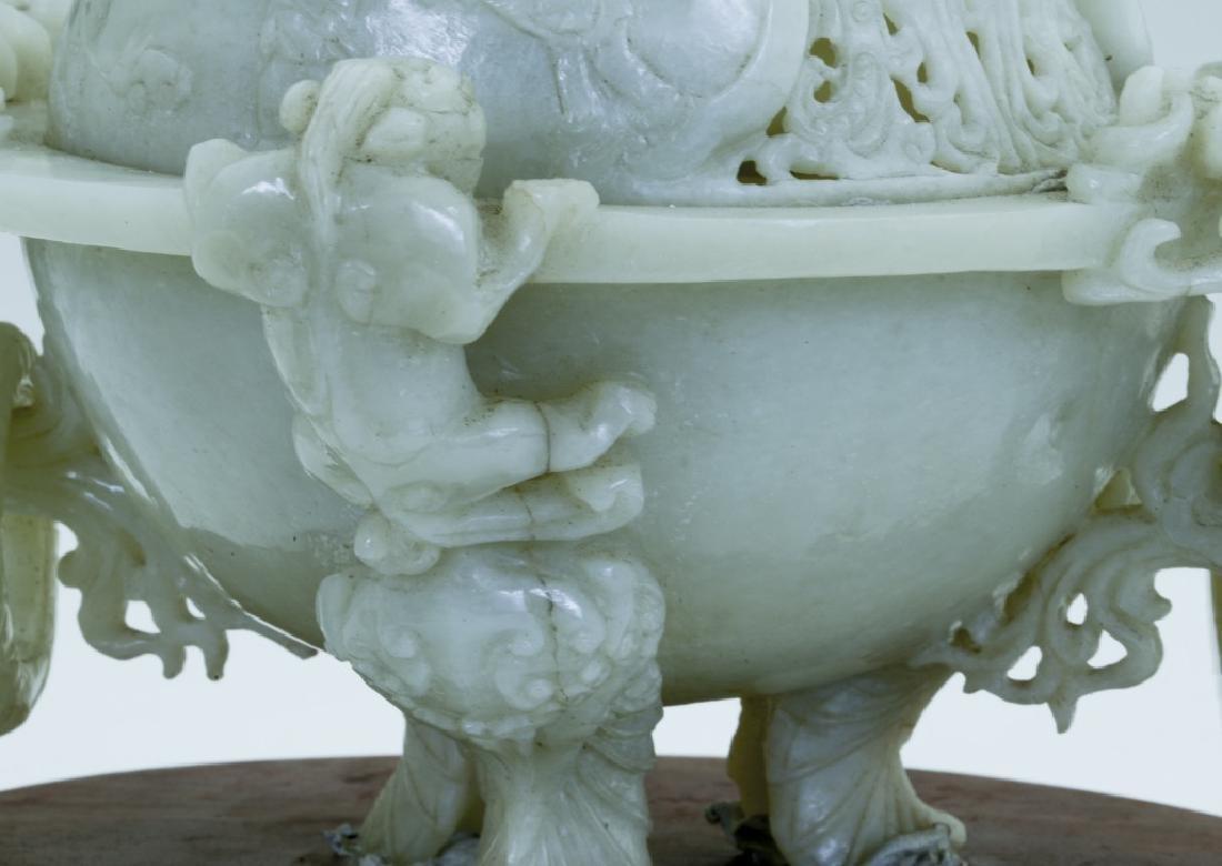 A superb vintage Chinese jade incense burner - 10
