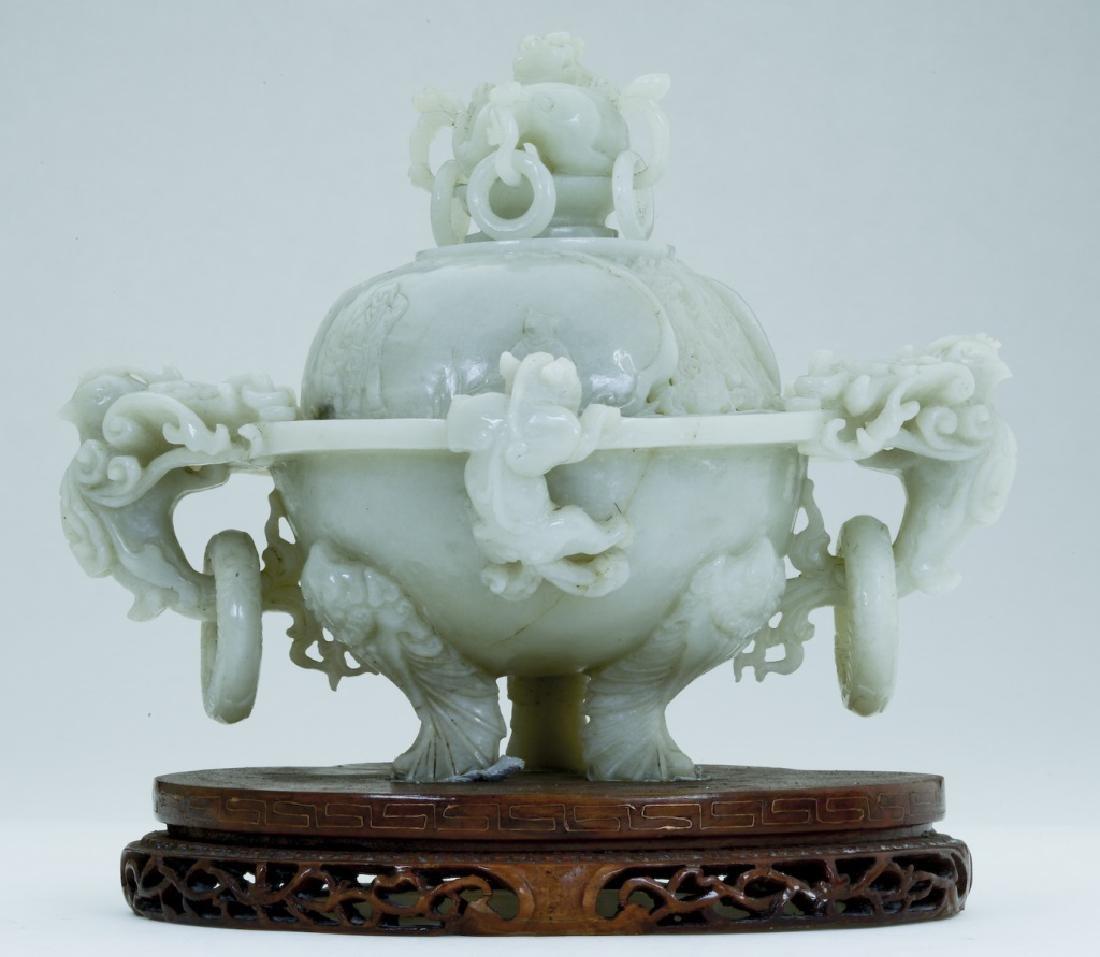 A superb vintage Chinese jade incense burner
