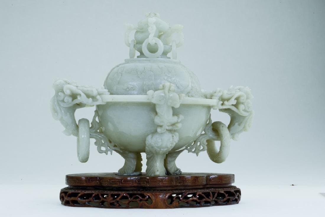 A superb vintage Chinese jade incense burner - 3