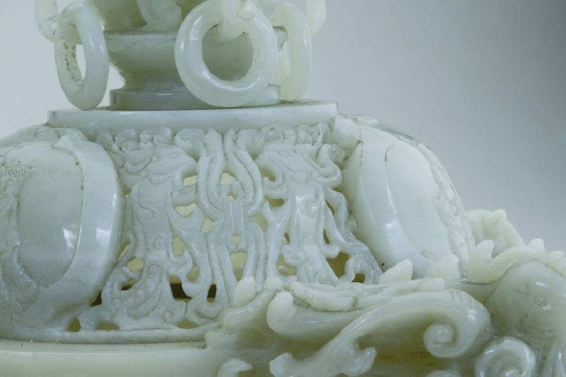 A superb vintage Chinese jade incense burner - 5