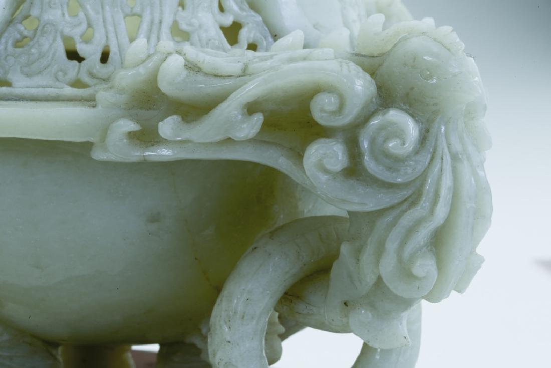 A superb vintage Chinese jade incense burner - 6