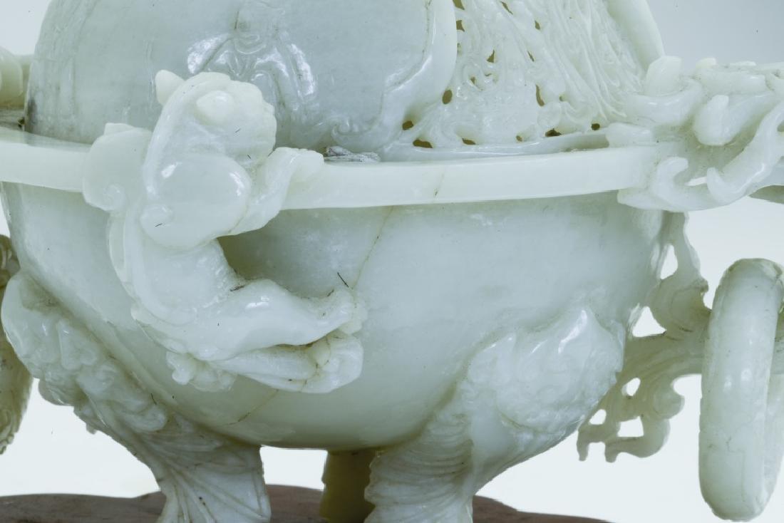 A superb vintage Chinese jade incense burner - 9