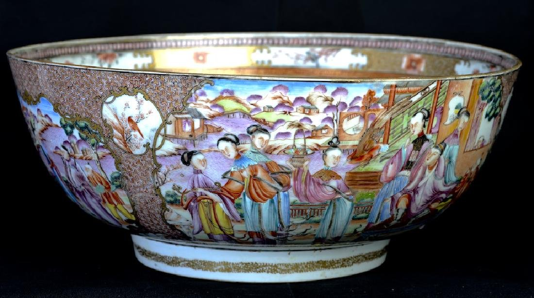 A huge Chinese export rose medallion punch bowl