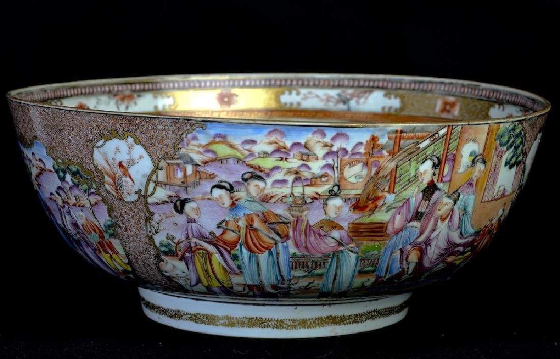 A huge Chinese export rose medallion punch bowl - 2