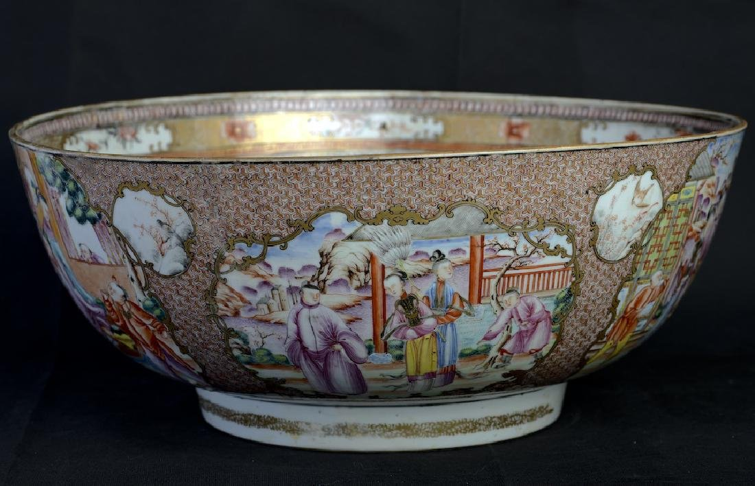 A huge Chinese export rose medallion punch bowl - 3