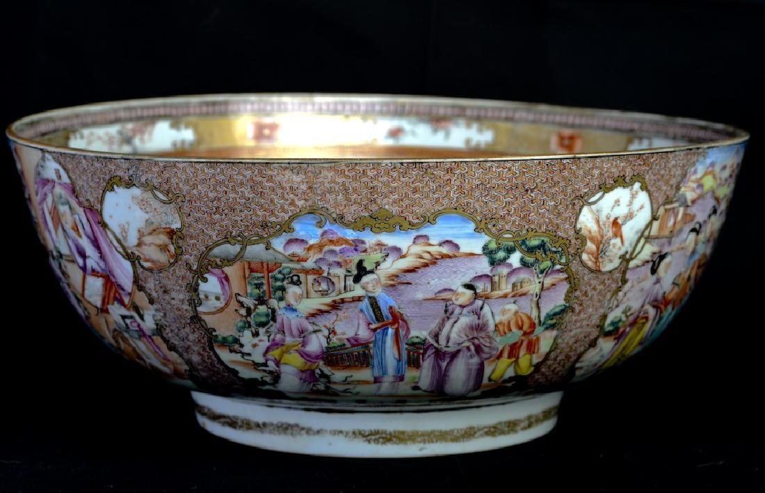 A huge Chinese export rose medallion punch bowl - 5