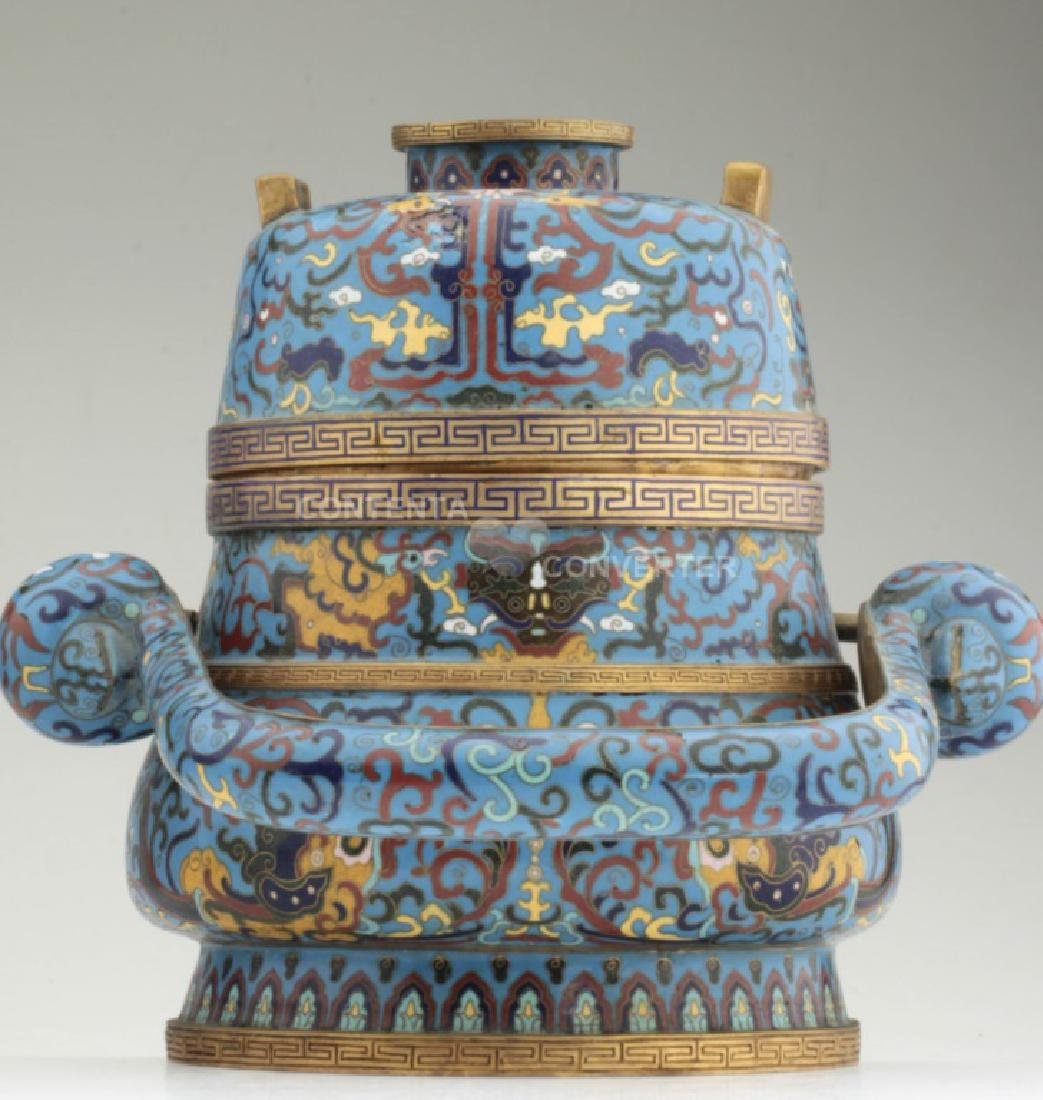 A large and heavy elegant Chinese cloisonne Hu