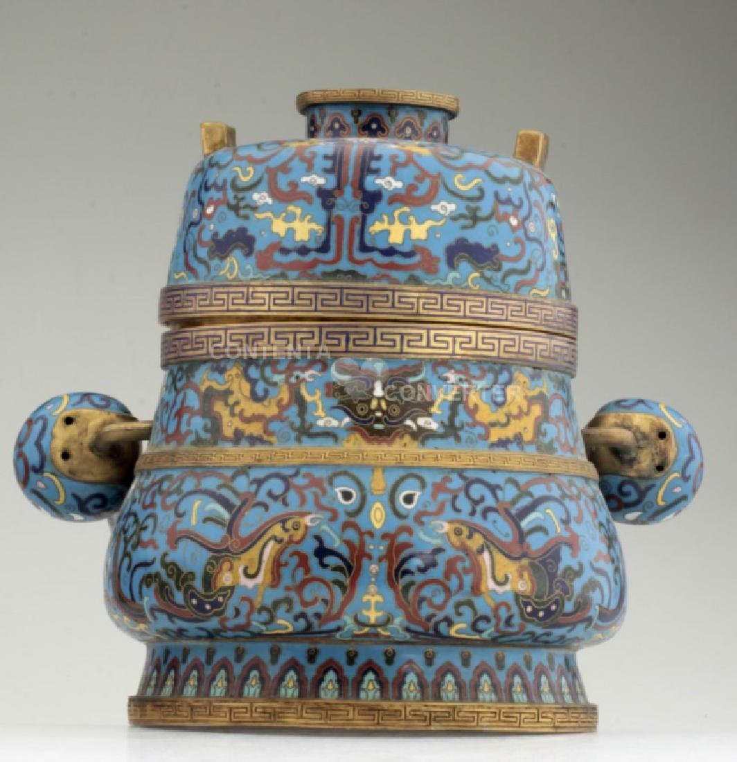 A large and heavy elegant Chinese cloisonne Hu - 2