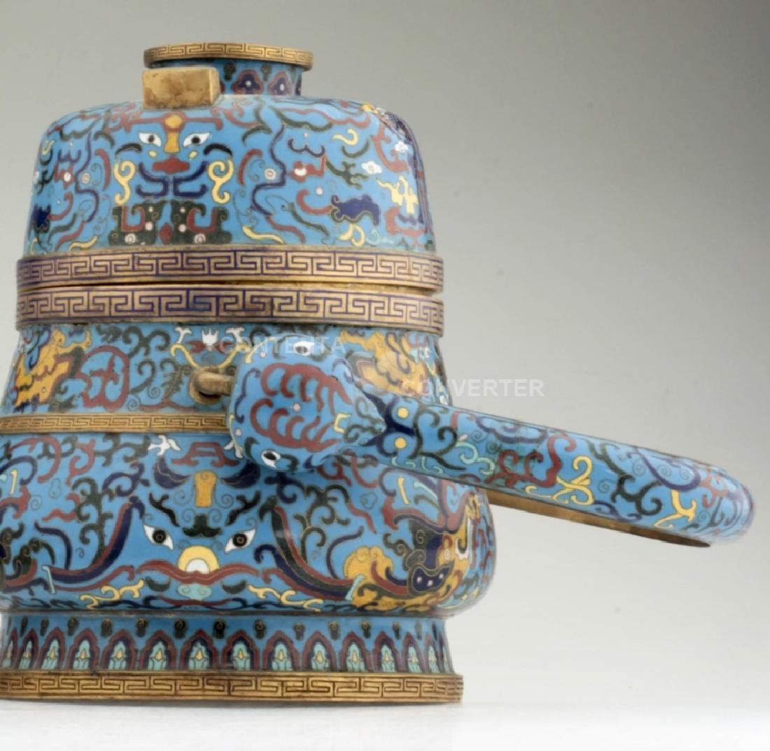 A large and heavy elegant Chinese cloisonne Hu - 3