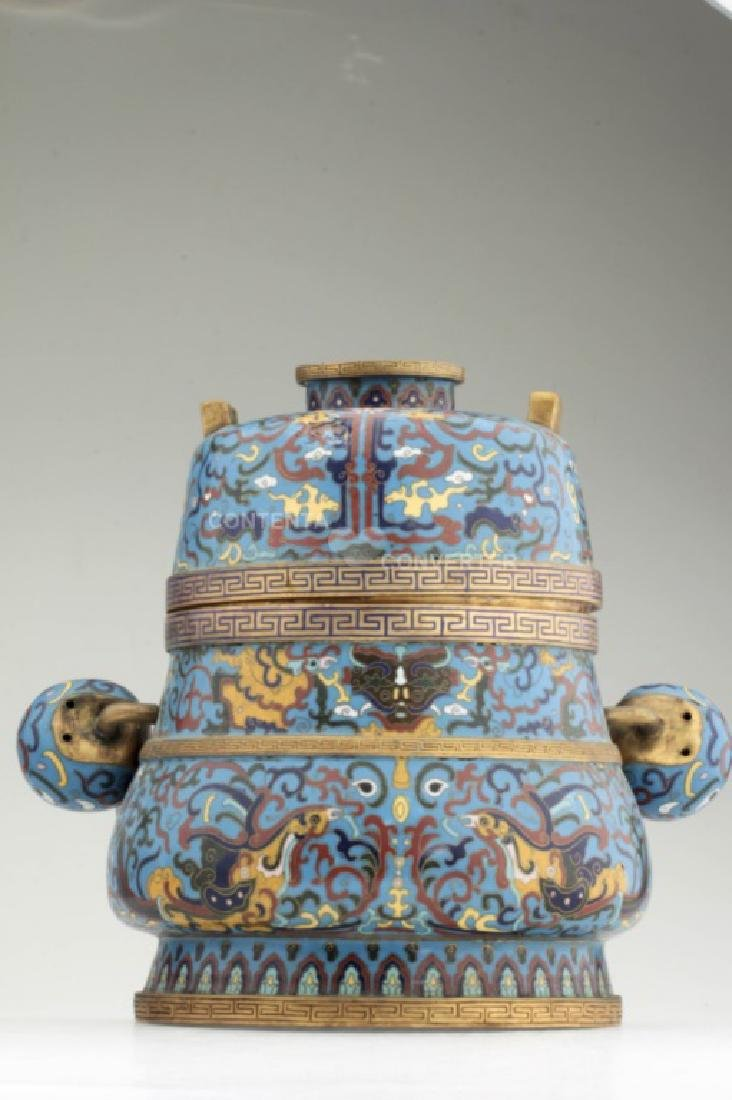 A large and heavy elegant Chinese cloisonne Hu - 4