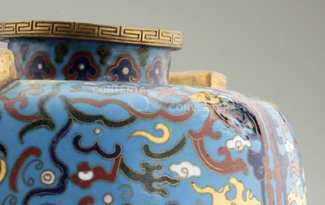 A large and heavy elegant Chinese cloisonne Hu - 5