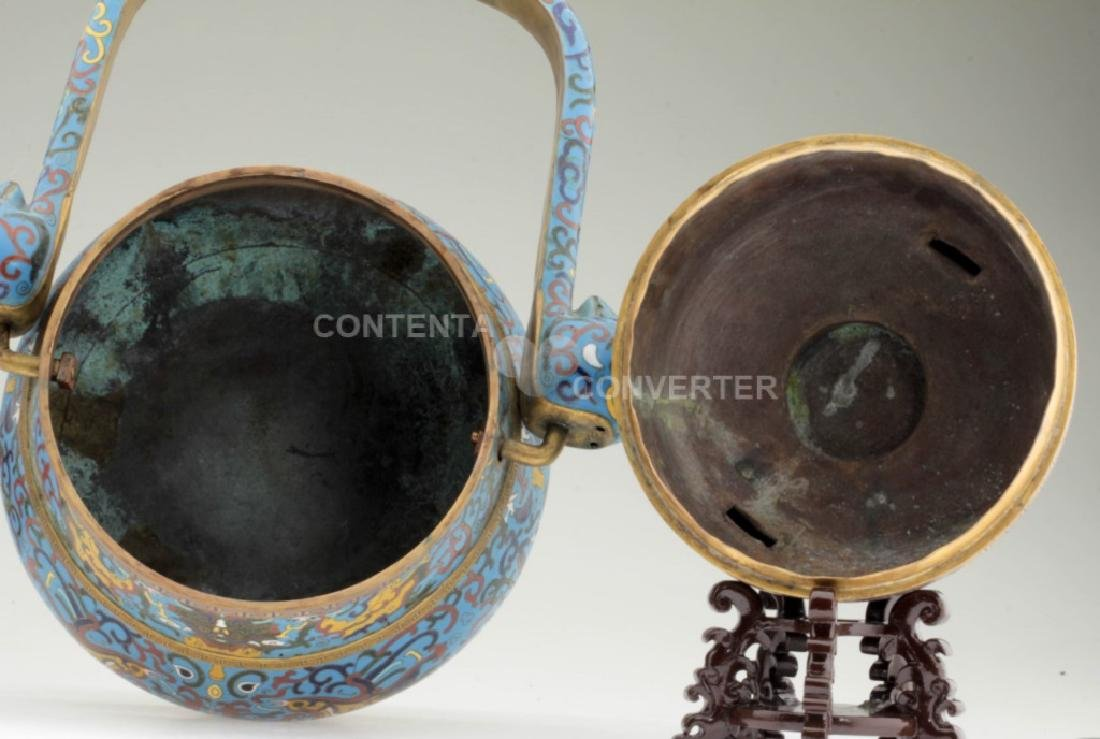 A large and heavy elegant Chinese cloisonne Hu - 6