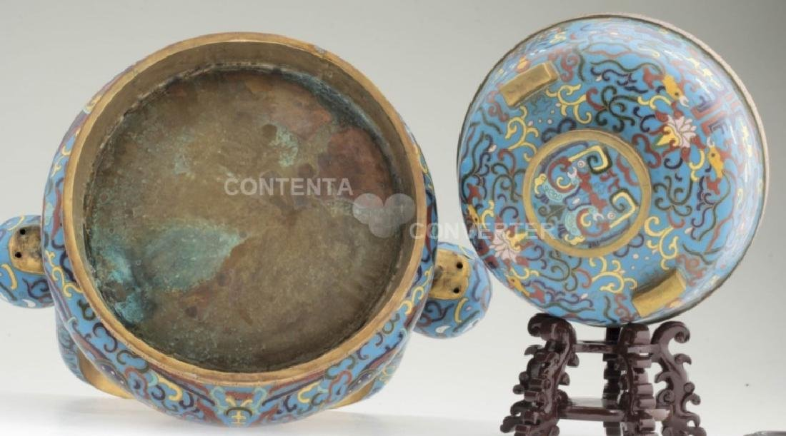 A large and heavy elegant Chinese cloisonne Hu - 7