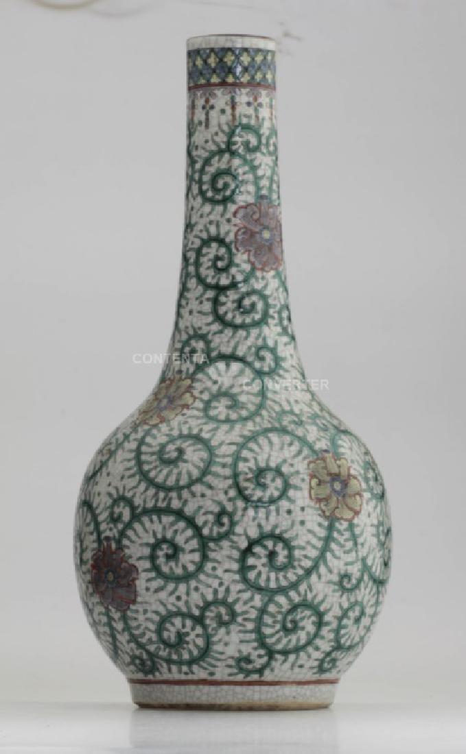 A Chinese Ge crackle famille rose porcelain vase