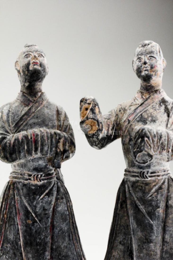 A pair of Han dynasty pottery officer figures - 6