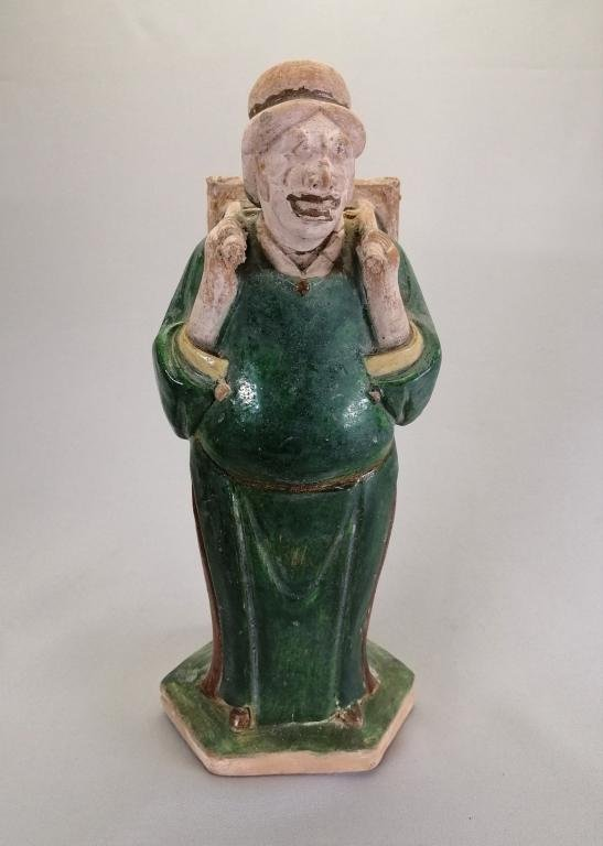 RARE CHINESE MING DYNASTY POTTERY FIGURE MERCHANT