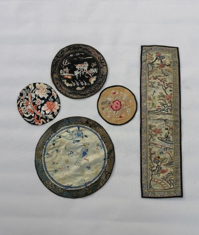 Five pieces Chinese Qing embroidered silk panels
