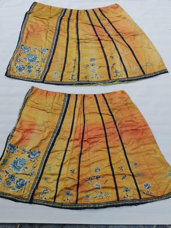Two pieces Chinese Silk Embroidered silk robe