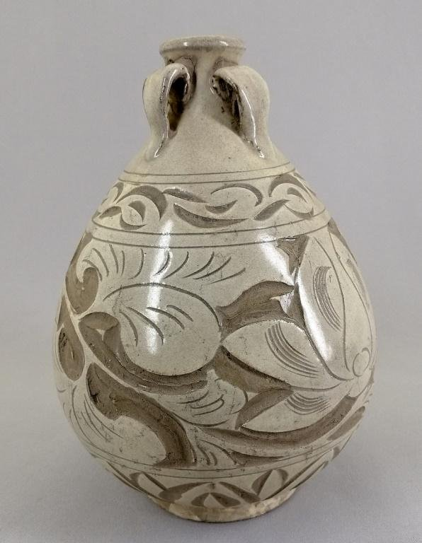 A Nice Chinese Ceramic Vase with four handles. 502