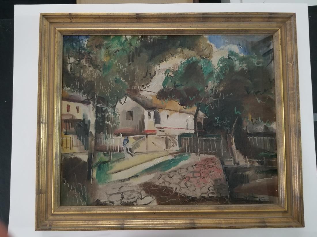 Original 1930 Oil Painting on Cardboard. Signed