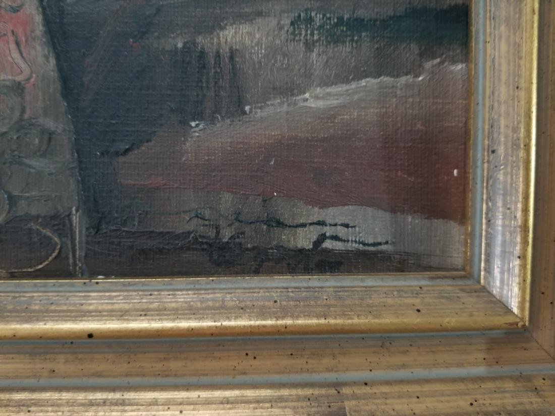Original 1930 Oil Painting on Cardboard. Signed - 3