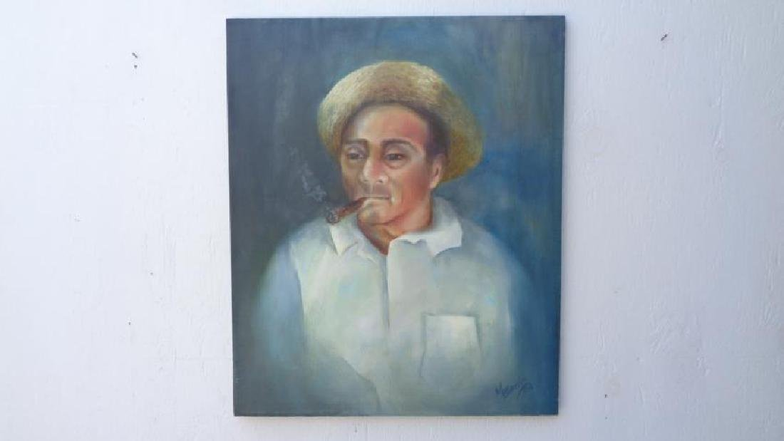 Old Man Smoking Cuban Cigar Original Painting Signed