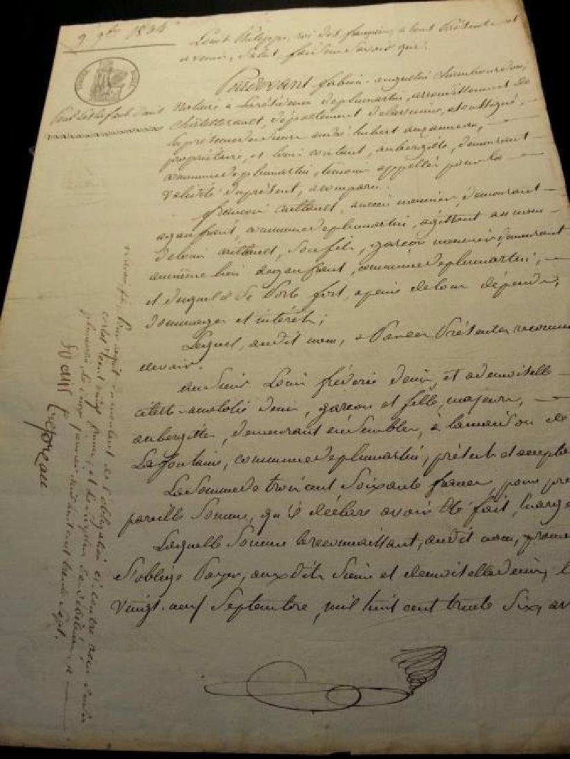 Antique 1834 Notary Document-Stamped. Watermarked. - 4