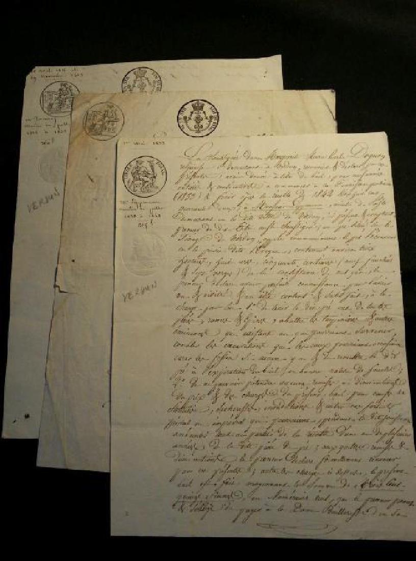 1816, 1823, 1833 Lot of 3 Antique Documents-Manuscripts