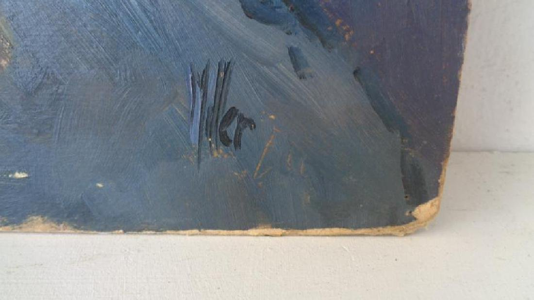 Original Signed Old Oil Painting on CardBoard - 2