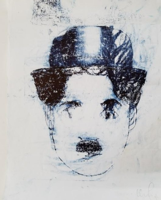 Original Ink Drawing On Paper -Charles Chaplin- Signed