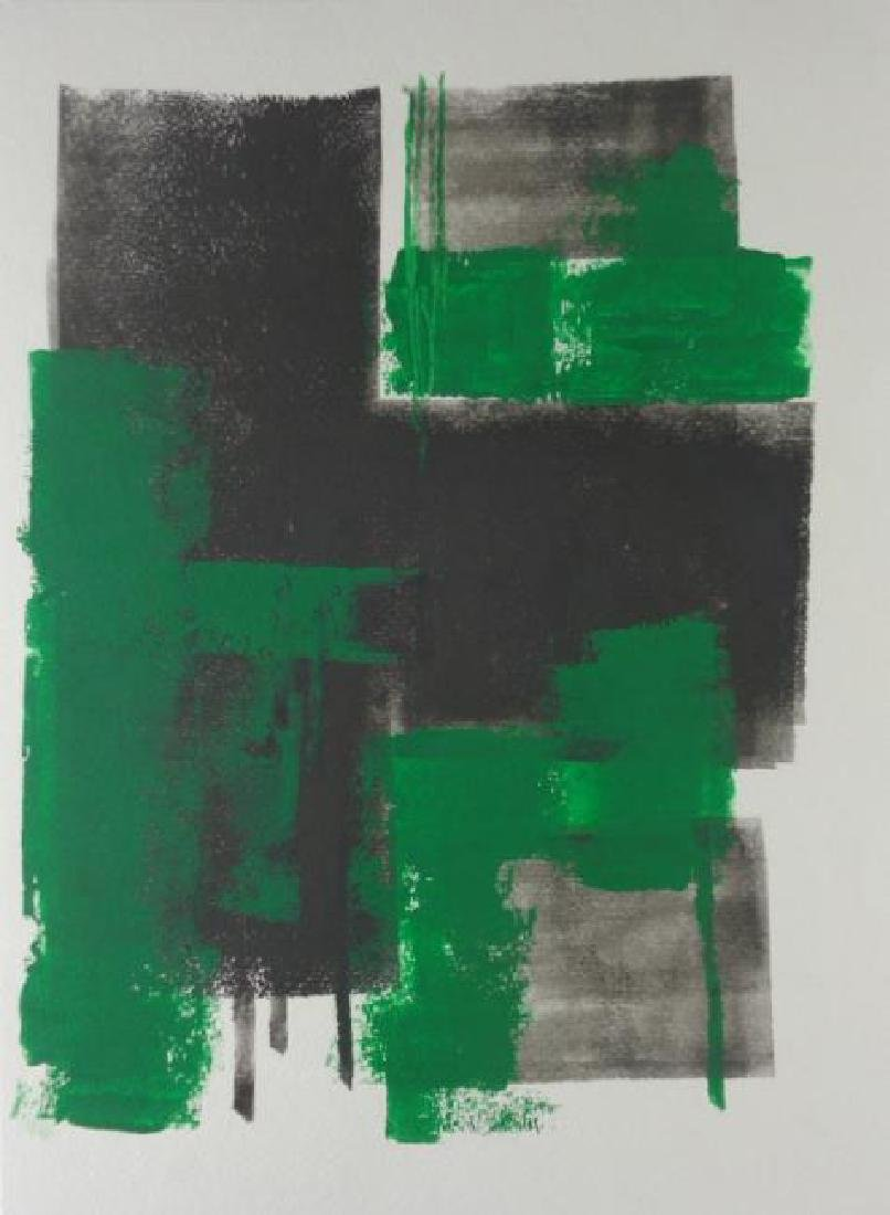 Abstract Modern Minimalism Black-Green Ink- Painting