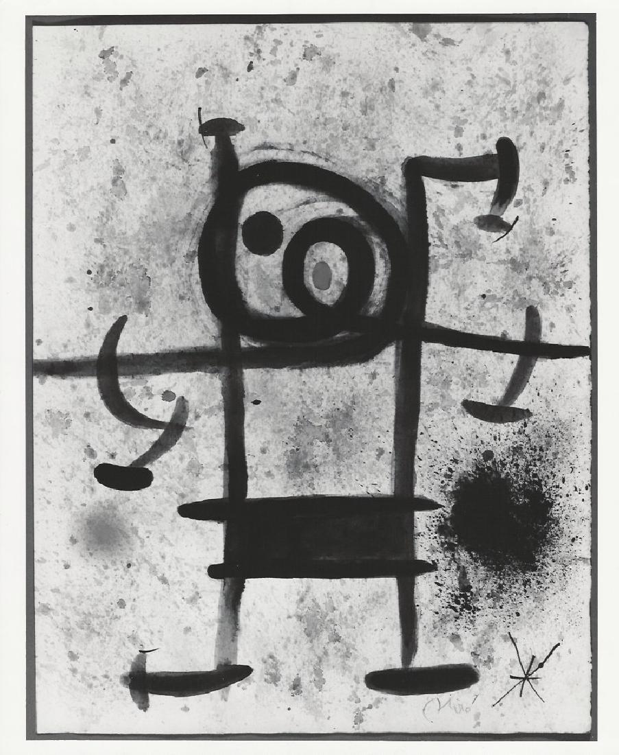 "1973 Photo of Joan Miro ""Personage"" Pastel painting"