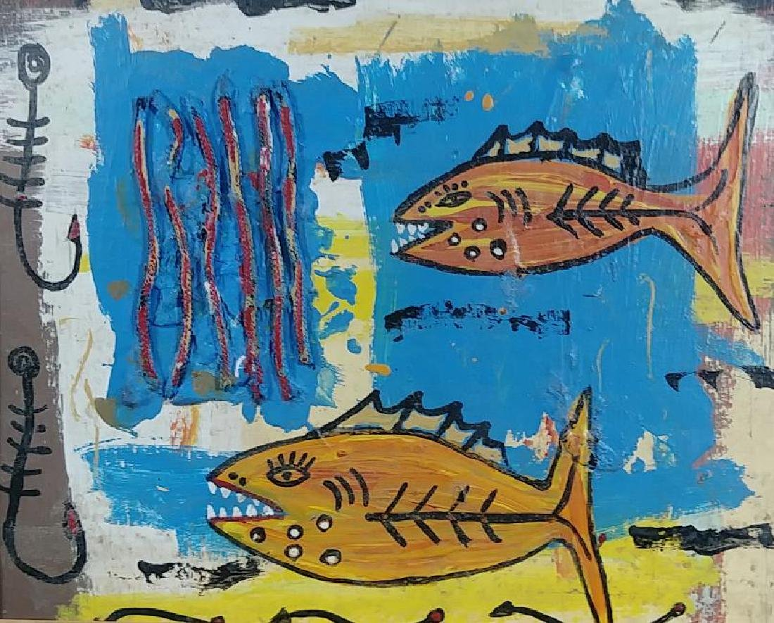 Original Fish Painting Signed - 2