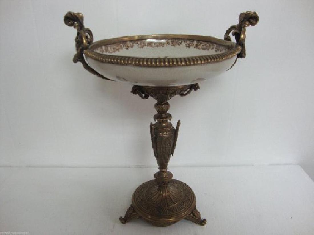 Beautiful Large Porcelain - Bronze Dish -Bronze Mount