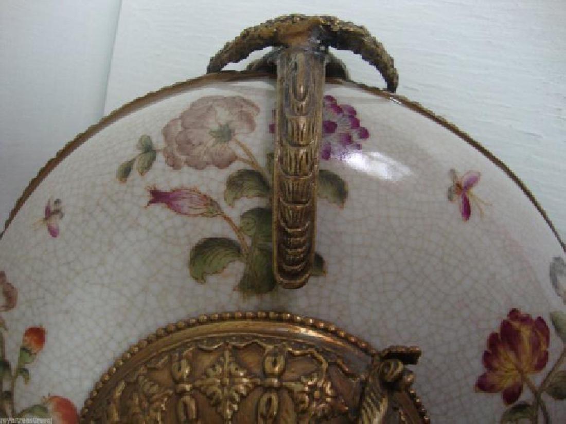 Beautiful Large Porcelain - Bronze Dish -Bronze Mount - 3